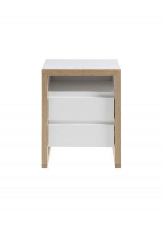Chevet FELIX laqué blanc mat pieds chêne 2 tiroirs 1 niche