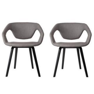 ZUIVER lot de 2 chaises FLEX BACK gris silex piétement noir