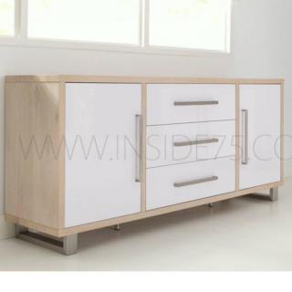 FLORA Buffet en bois avec portes & tiroirs blanc brillant