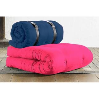 Chauffeuse BUCKLE UP futon magenta et bleu royal couchage 70*200*24cm