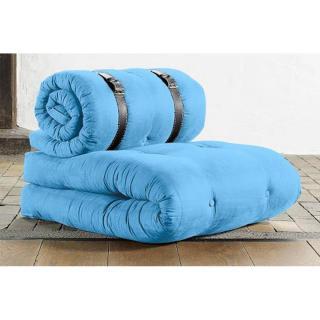 Chauffeuse BUCKLE UP futon bleu celeste couchage 70*200*24cm