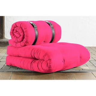 Chauffeuse BUCKLE UP futon magenta couchage 70*200*24cm