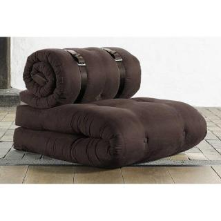 Chauffeuse BUCKLE UP futon marron couchage 70*200*24cm