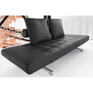 Canapé design GHIA CHROME convertible lit 210*80cm Leather Look Black