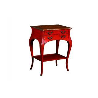 Guéridon BOILEAU rouge de style régence avec 2 tiroirs et une tablette