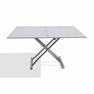 Table basse relevable extensible HIGH and LOW blanc brillant. Petite taille compacte.