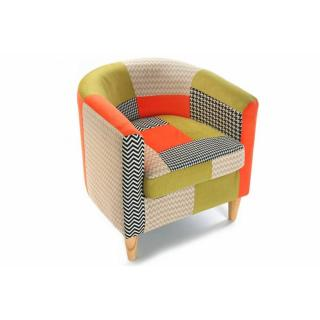 Fauteuil HOUNDSTOOTH patchwork avec accoudoirs