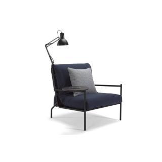INNOVATION LIVING Fauteuil design NOIR bleu convertible lit 70*200 cm tablette et lampe intégrées