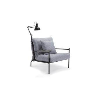INNOVATION LIVING Fauteuil design NOIR gris granite convertible lit 70*200 cm tablette et lampe intégrées