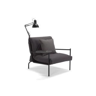 INNOVATION LIVING Fauteuil design NOIR noir convertible lit 70*200 cm tablette et lampe intégrées