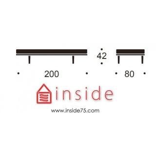 Méridienne design VILI STEM 200*80 cm piétement chêne clair