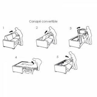 Canapé lit compact 3-4 places INTENSO convertible EXPRESS 160 cm matelas 16 cm
