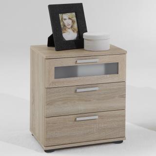 Chevet JARSY coloris chêne 3 tiroirs avec tiroir supérieur avec verre opaque