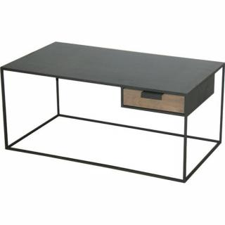 tables basses meubles et rangements kwadrat table basse en acier et ch ne avec tiroir. Black Bedroom Furniture Sets. Home Design Ideas