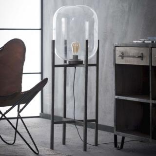 Lampadaire sphère en verre design HUBBLE acier argent ancien