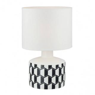 Lampe à poser ALEX en céramique blanc imprimé origami