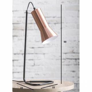 Lampe CURVO design cuivre avec un piétement en acier