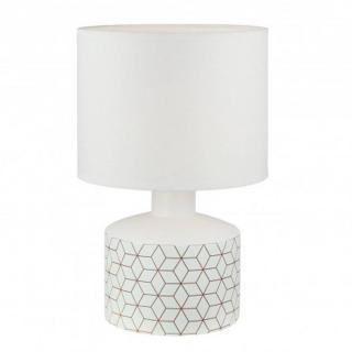 Lampe à poser GEOM en céramique blanc imprimé origami