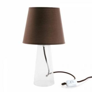 Lampe LUCIE design marron pied verre