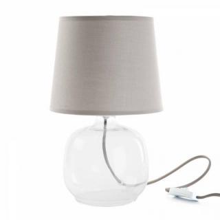 Lampe LUCILA design taupe clair pied verre