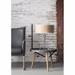 Lampe TICK design acier avec un abat-jour cylindrique en chêne