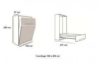 Armoire lit LAUSANNE Couchage 140 x 200 cm profondeur 47 cm
