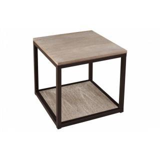 Bout de canapé industriel avec tablette LEA en bois de paulownia et en fer