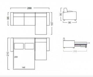 Canapé d'angle convertible LOTTO MAXI méridienne droite Ouverture assistée Couchage 140*200 cm.