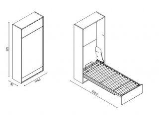 Armoire lit escamotable à ouverture électrique ELEKTRA couchage 90*200 cm