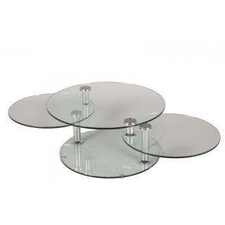 Table basse design LEVEL ronde double plateaux