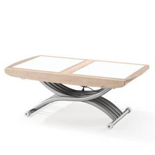 Table relevable LIFT GLASS plateau fixe chêne clair rustique, verre blanc