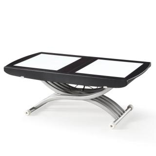 Table relevable LIFT GLASS wengé, verre blanc,  extensible en table repas 8 couverts.
