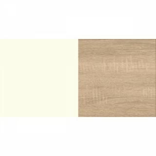 Lit ALBORG 140*200 cm style scandinave blanc rechampis décor chêne