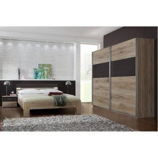 Chambre à coucher DAKOTA chêne/lave avec éclairages Led