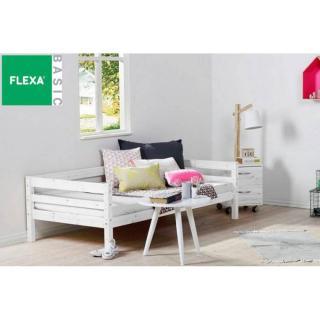Lit banquette FLEXA en pin vernis blanchi couchage 90 x 200
