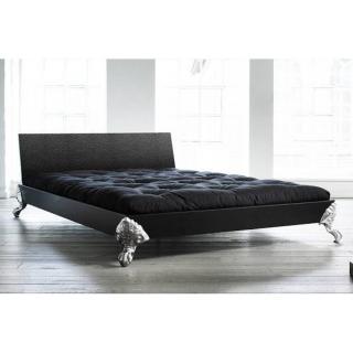 Lit EAGLE BED avec tête de lit imprimée cuir noir