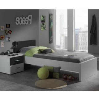Ensemble chambre enfant SOAN 2 éléments blanc/gris couchage 90 x 200cm