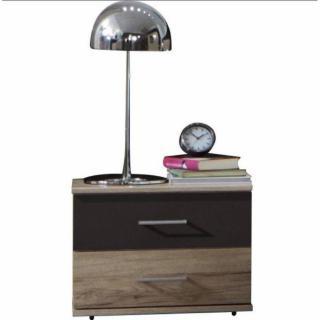 Lit DAKOTA avec éclairages LED et 2 chevets chêne/lave