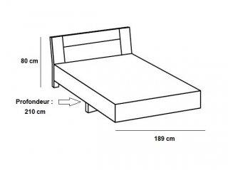 Lit design THALIA 180 x 200 cm blanc rechampis graphite