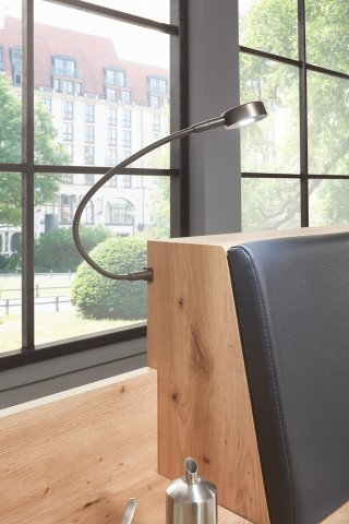 Lit chevets design BURNABY 2 tiroirs 180 x 200 cm artisan tête cuir synthétique