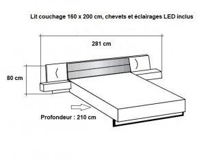 Lit chevets design VICK 160 x 200 cm chêne artisan tête cuir synthétique blanc