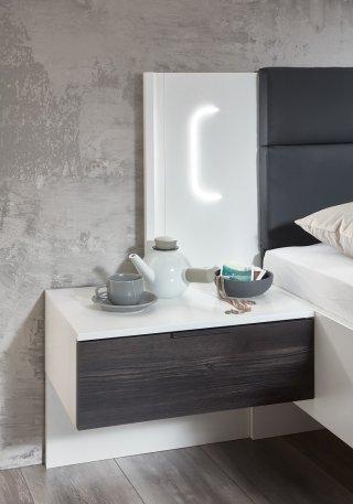 Lit chevets design VICK 160 x 200 cm chêne carbon tête cuir synthétique graphite