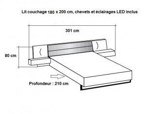 Lit chevets design VICK 180 x 200 cm chêne carbon tête cuir synthétique graphite