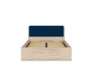 Lit coffre FRASER mélaminé chêne clair avec tête de lit Bleu couchage140*200 cm