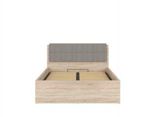 Lit coffre FRASER mélaminé chêne clair avec tête de lit grise couchage140*200 cm