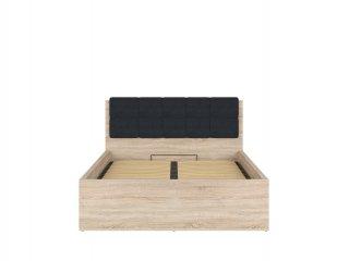 Lit coffre FRASER mélaminé chêne clair avec tête de lit Noir couchage140*200 cm