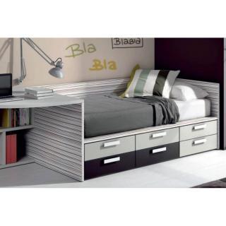 lit compact BELLADONE avec 6 tiroirs couchage 90 x 190