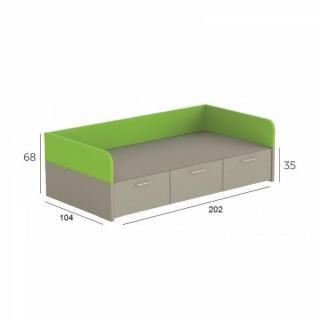 Lits tiroirs rangement chambre literie lit compact carillon avec 3 ti - Lit avec tiroir couchage ...