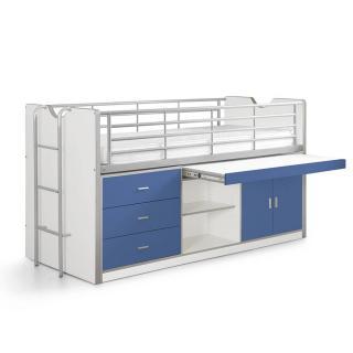 Lit combiné KYLE blanc/bleu avec bureau coulissant