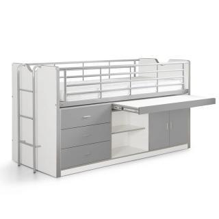 Lit combiné KYLE blanc/gris avec bureau coulissant